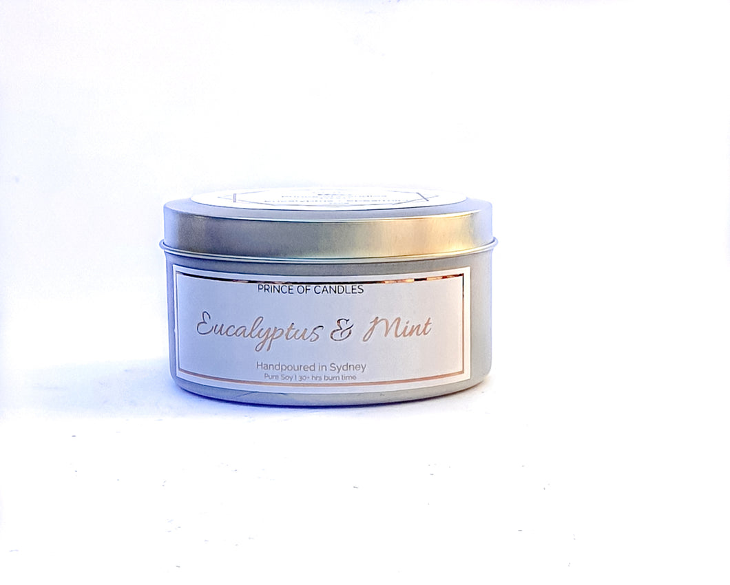 Scent Sample Eucalyptus & Spearmint Scented Candle, Wood Wick Candles - Prince of Candles