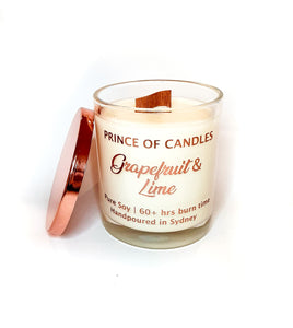 Grapefruit & Lime Scented Candle, Wood Wick Candles - Prince of Candles