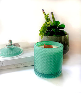 Teal Raindrop Scented Candle, Wood Wick Candles - Prince of Candles