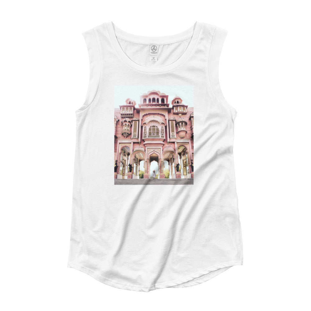 Ladies' Cap Sleeve T-Shirt- Morocco Bubble Gum Castle