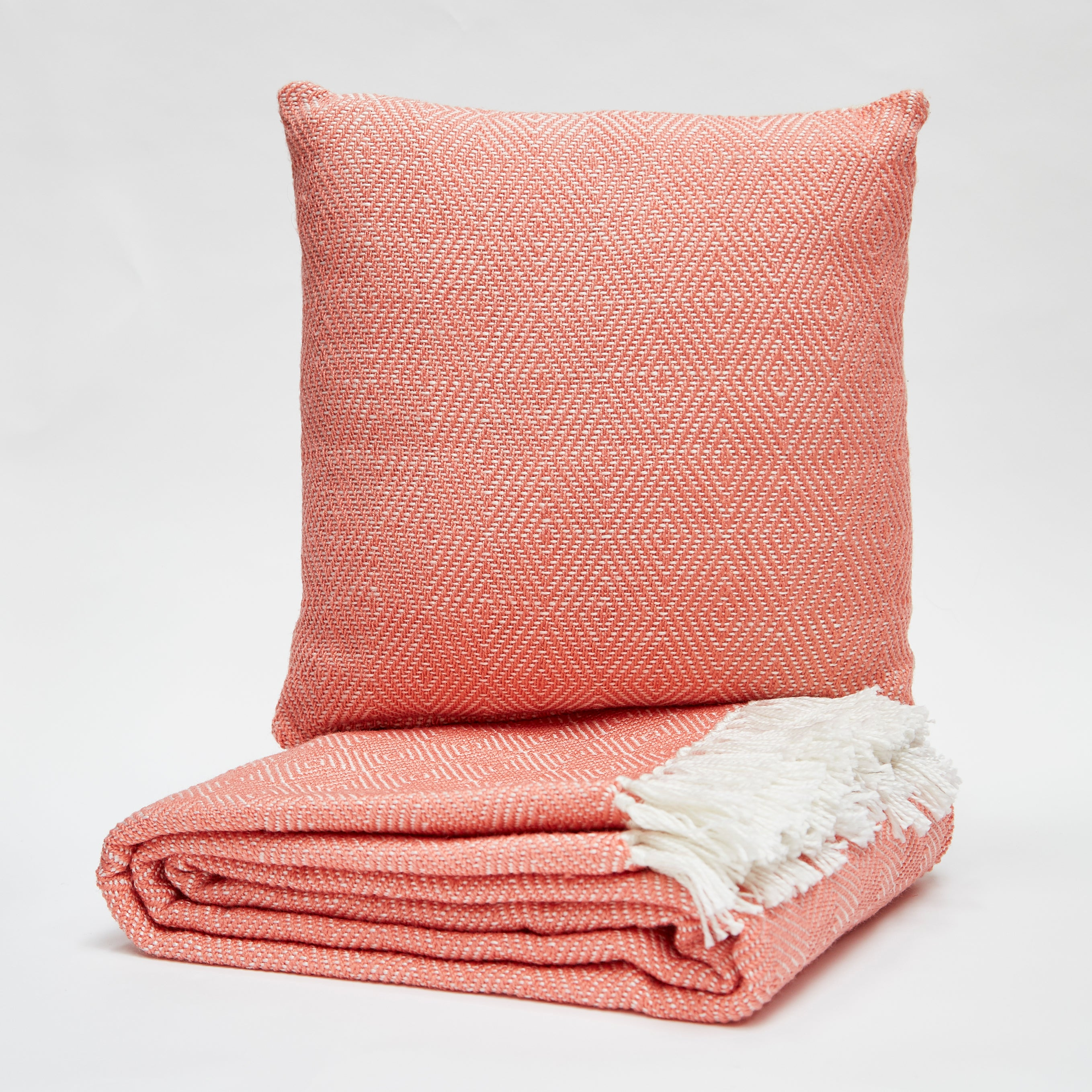 Weaver Green Cushion - Coral