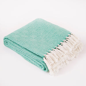 Weaver Green Diamond Throw - Aqua