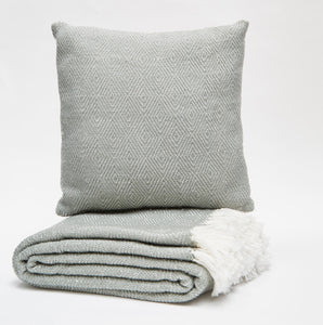 Weaver Green Diamond Throw - Dove Grey