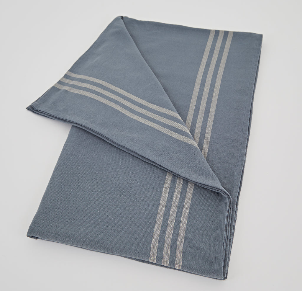 Maxime Blue and Linen Tablecloth LARGE 250cm x 160cm