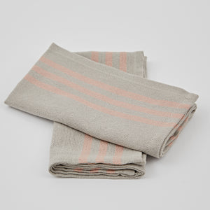 Set of 4 x Napkins Maxine Linen and Coral