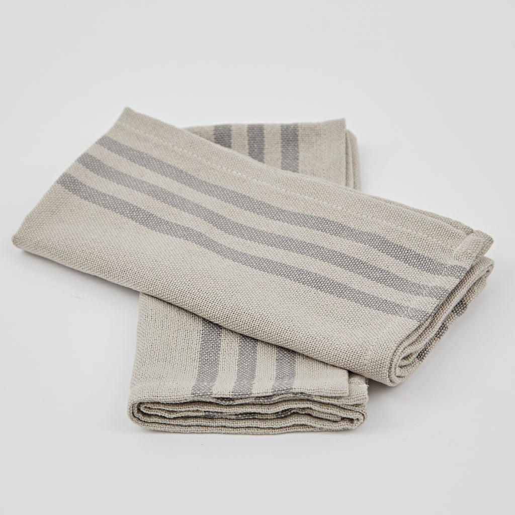Set of 4 x Napkins Maxine Linen and Grey