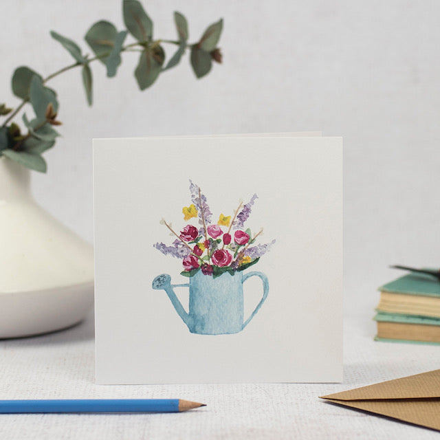 Flowers in watering can card