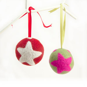 Red and White. Bright, fun and colourful felt baubles