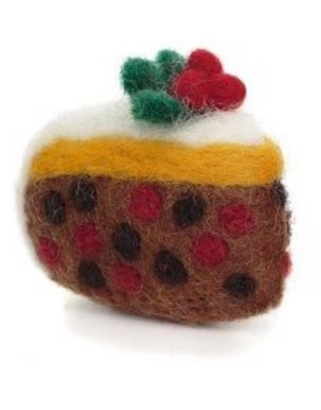 A slice of Christmas cake felt decoration