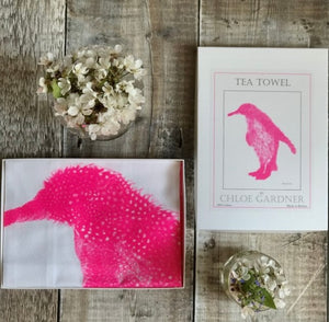 Penguin Neon Pink Cotton Tea Towel