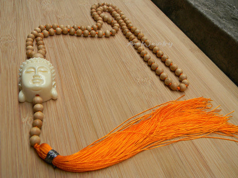 108 Wooden beads Prayer Mala Long Necklace