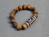 matte tiger eye beaded dzi bracelet