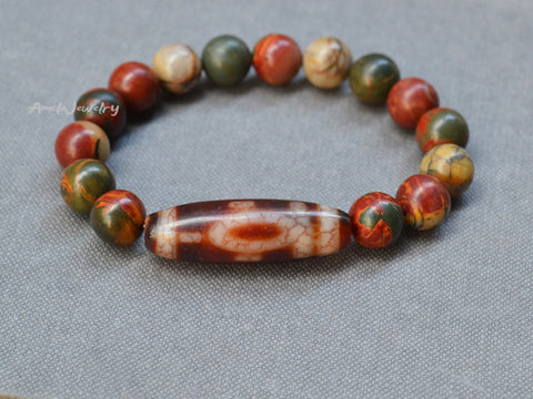 earth dzi beaded bracelet