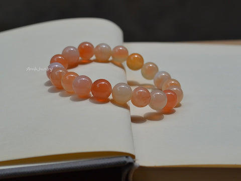 natural peach agate beaded bracelet