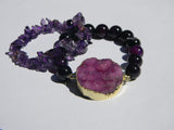 natural amethyst beads chips bracelet