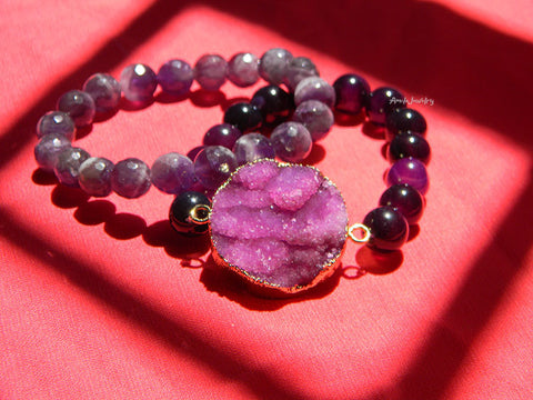 purple druzy beaded bracelets set