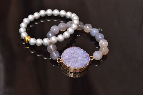 white druzy beaded bracelets set