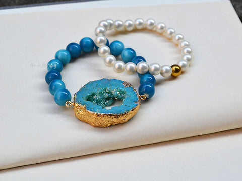blue druzy beaded bracelet set