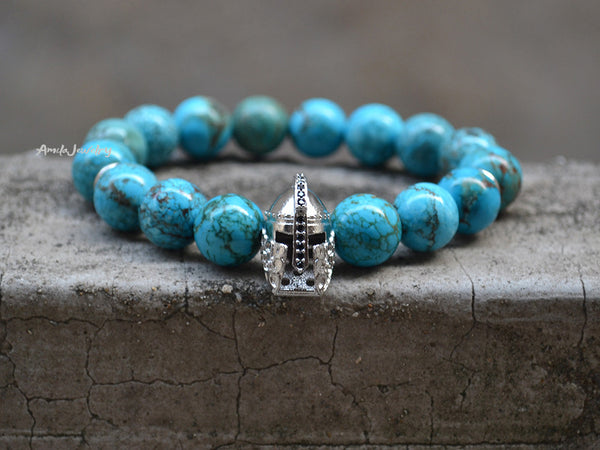 knight helmet beaded bracelet