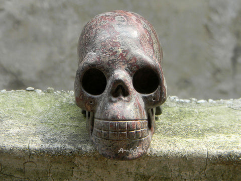 human skull carved stone