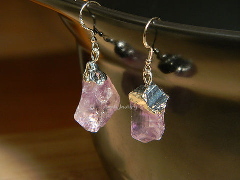 natural raw amethyst earrings