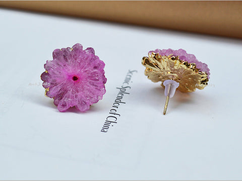 pink druzy flower stud earrings
