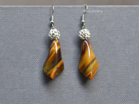 natural tiger eye earrings