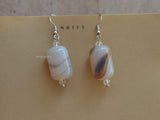 natural white agate dangle earrings