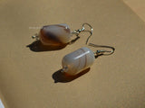 cylinder agate drop earrings