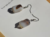 barrel agate earrings