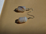 natural white stripe agate pendulum earrings