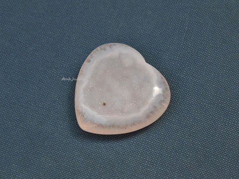 natural drusy agate stone heart