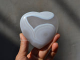 natural white agate stone heart