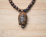 hand carved bone buddha pendant necklace