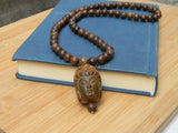 prayer wooden buddha necklace