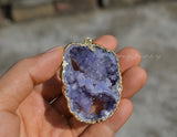 big raw purple drusy druse geode hole pendant
