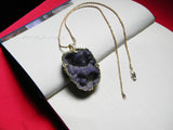 light purple cluster stone pendant necklace