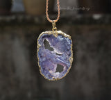 gold dipped purple druzy pendant necklace