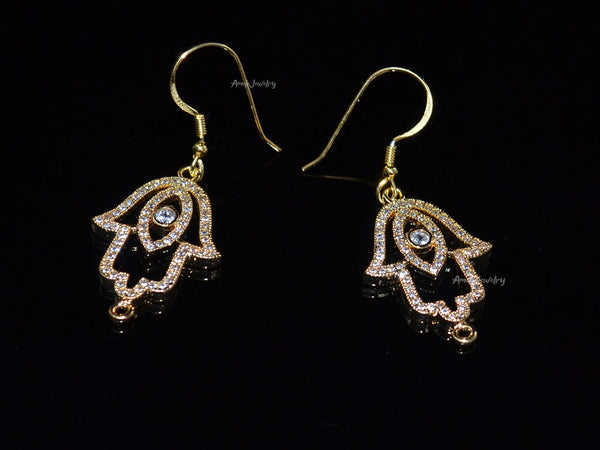 evil eye hamsa hand earrings
