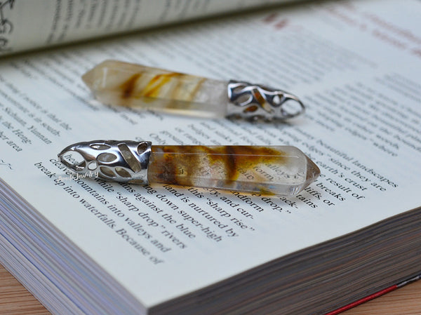 clear yellow pointed pendant