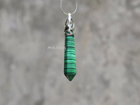 green malachite pointed pendant