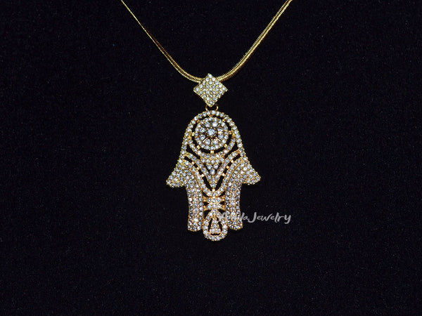 gold hamsa hand pendant necklace