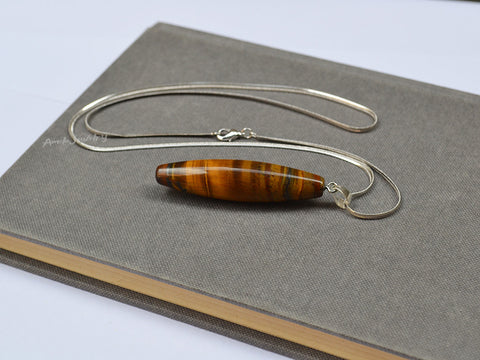 tiger eye shuttle pendant necklace