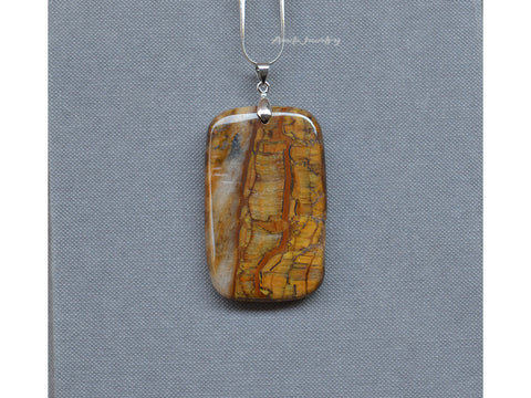 mens rectangle tiger eye pendant necklace