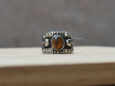 double skulls titanium steel ring