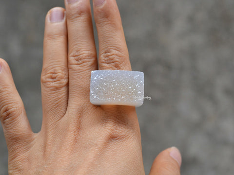 natural whole white agate solid ring
