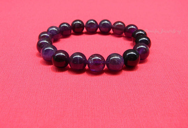 genuine amethyst beaded bracelet
