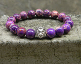 silver lion head purple imperial jasper beaded bracelet