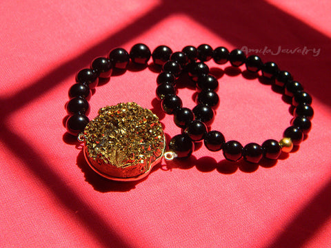gold druzy druse beaded bracelet