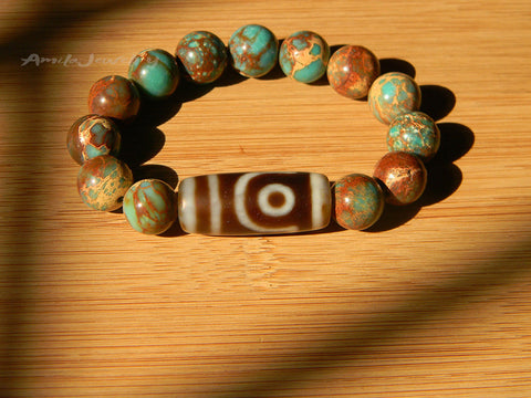 two eyes dzi agate beaded bracelet
